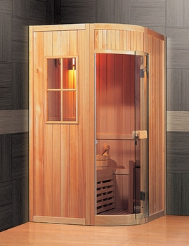 one two person traditional sauna. Black Bedroom Furniture Sets. Home Design Ideas