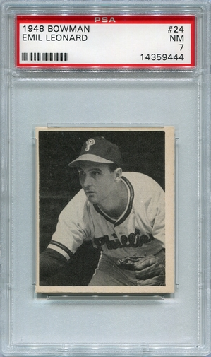 "1948 Bowman Emil ""Dutch"" Leonard #24 PSA 7"
