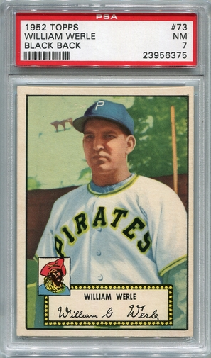 1952 Topps William Werle - Black Back #73 PSA 7