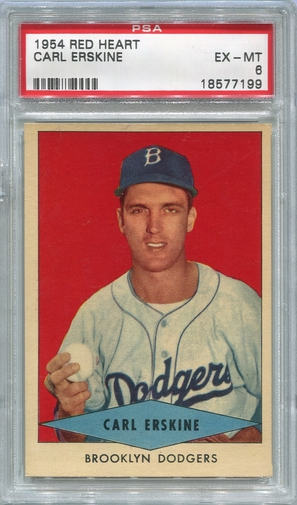 1954 Red Heart Carl Erskine #6 PSA 6 (Short Print)
