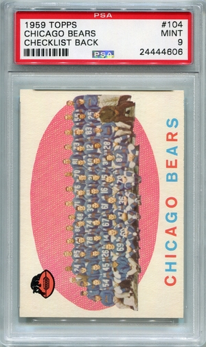1959 Topps Chicago Bears Team Checklist Back #104 PSA 9