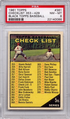 1961 Topps 5th Series Checklist 353-429 #361 PSA 8