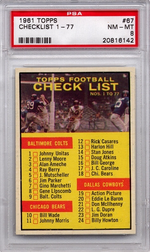 1961 Topps Football Checklist 1-77 #67 PSA 8