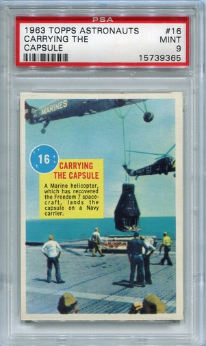 1963 Topps Astronauts - Carrying The Capsule #16 PSA 9