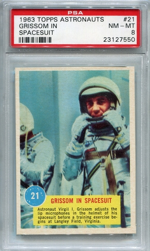 1963 Topps Astronauts - Grissom In Spacesuit #21 PSA 8
