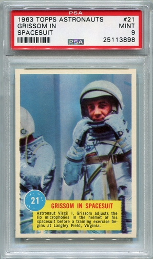 1963 Topps Astronauts - Grissom In Spacesuit #21 PSA 9