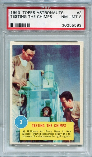 1963 Topps Astronauts - Testing The Chimps #3 PSA 8