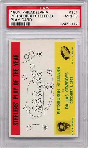 1964 Philadelphia - Pittsburgh Steelers Play Card #154 PSA 9