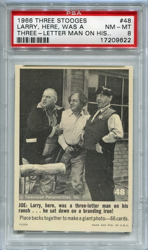 1966 Three Stooges - Larry, Here, Was A Three-Letter Man #48 PSA 8