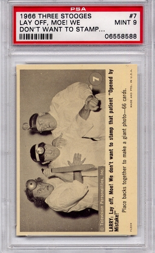 1966 Three Stooges - Lay Off, Moe! We Don't Want To Stamp #7 PSA 9