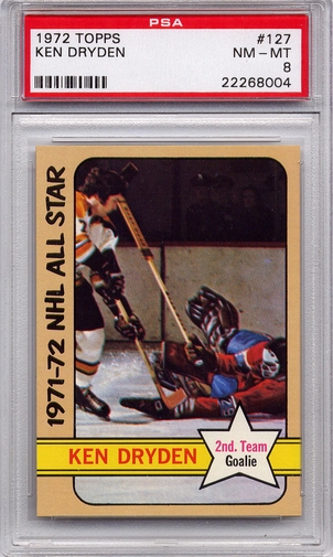 1972 Topps Ken Dryden All Star #127 PSA 8