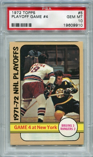 1972 Topps NHL Playoff Game 4 At New York #5 PSA 10