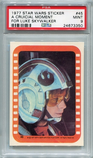 1977 Star Wars Sticker - A Crucial Moment For Luke Skywalker #45 PSA 9