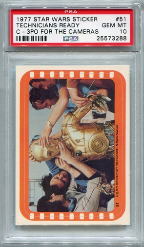 1977 Star Wars Sticker - Technicians Ready C-3PO For The Cameras #51 PSA 10