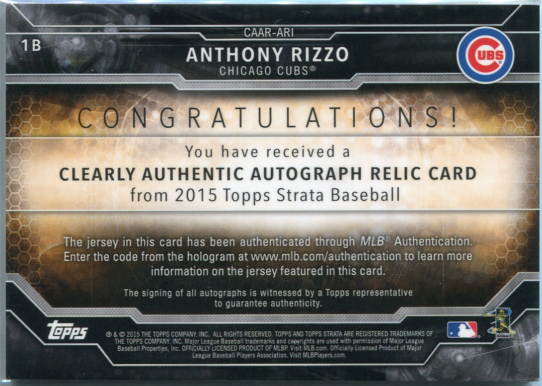 online store 480c4 c41d7 2015 Topps Strata Jersey Relic Anthony Rizzo Autograph #CAAR-ARI