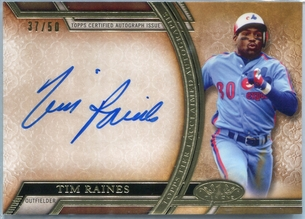 2015 Topps Tier One Acclaimed Autographs Tim Raines #AA-TR