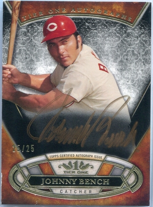 2015 Topps Tier One Gold Autographs Johnny Bench #TOA-JB #25/25