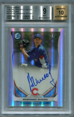 Armando Rivero BGS Certified Authentic Autograph - 2014 Bowman Chrome Ref.