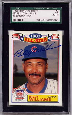Billy Williams SGC Certified Authentic Autograph - 1988 Topps Glossy