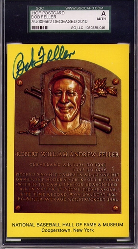 Bob Feller SGC Certified Authentic Autograph - Hall of Fame Plaque