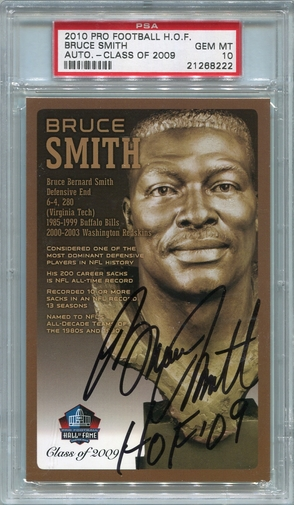 Bruce Smith PSA/DNA Certified Authentic Autograph - 2010 HOF Postcard - PSA 10