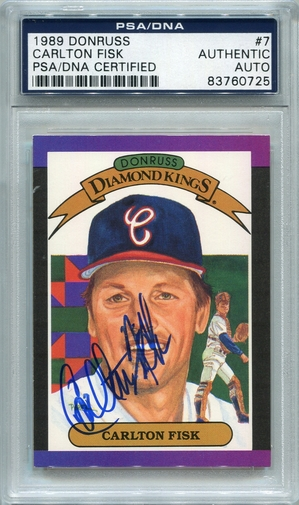 Carlton Fisk PSA/DNA Certified Authentic Autograph - 1989 Donruss Diamond Kings