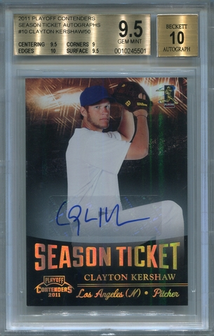 Clayton Kershaw BGS Certified Authentic Autograph - 2011 Panini Playoff Contenders
