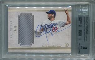 Clayton Kershaw BGS Certified Authentic Autograph - 2017 Topps Definitive Relics #20/40