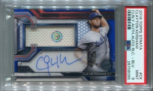 Clayton Kershaw PSA/DNA Certified Autograph - 2016 Topps Strata Clearly Authentic Relic - Blue #44/99