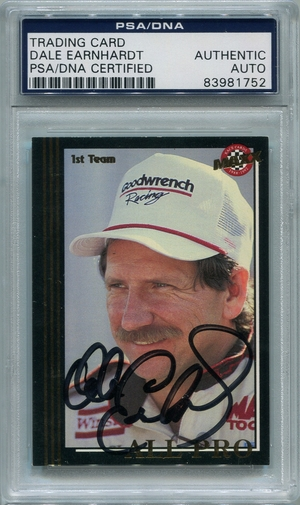 Dale Earnhardt PSA/DNA Certified Authentic Autograph - 1992 MAXX