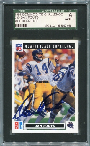 Dan Fouts SGC Certified Authentic Autograph - 1991 Upper Deck Domino's