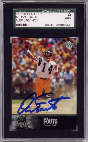 Dan Fouts SGC Certified Authentic Autograph - 1997 Upper Deck