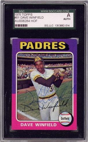Dave Winfield SGC Certified Authentic Autograph - 1975 Topps