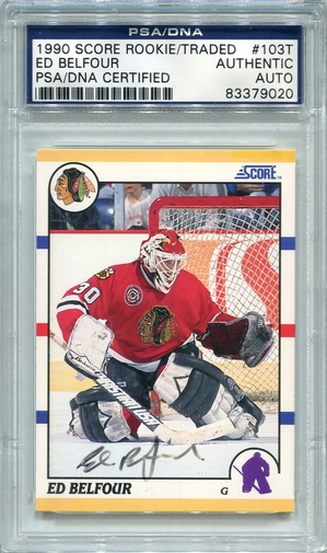 Ed Belfour PSA/DNA Certified Authentic Autograph - 1990 Score Rookie Traded