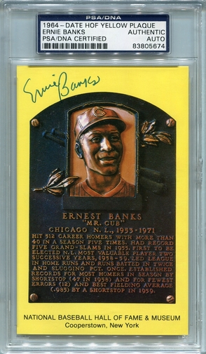 Ernie Banks PSA/DNA Certified Authentic Autograph - Hall of Fame Plaque Postcard