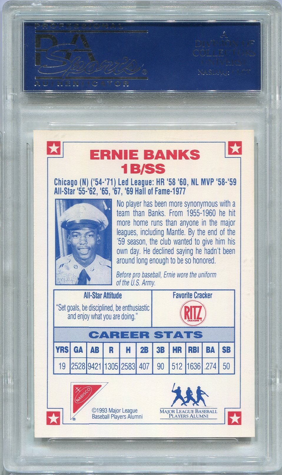 ernie banks psa dna certified authentic autograph 1993 nabisco. Black Bedroom Furniture Sets. Home Design Ideas