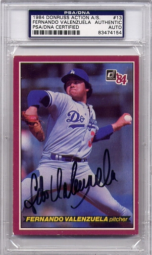 Fernando Valenzuela PSA/DNA Certified Authentic Autograph - 1984 Donruss Action A.S.