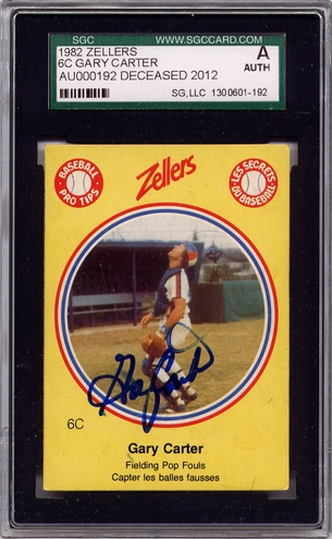 Gary Carter SGC Certified Authentic Autograph - 1982 Zellers