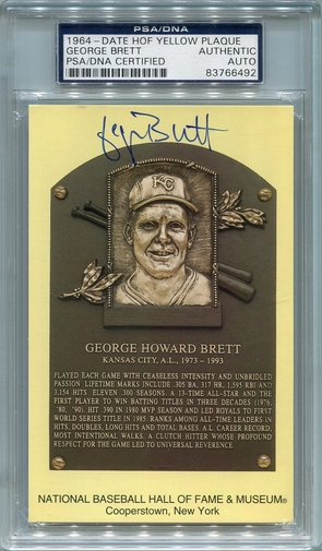 George Brett PSA/DNA Certified Authentic Autograph - Hall of Fame Plaque Postcard