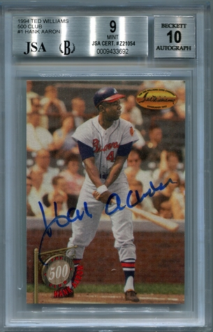 Hank Aaron BGS/JSA Certified Authentic Autograph - 1994 Ted Williams 500 Club #1
