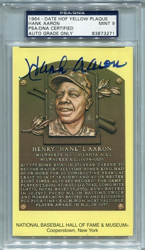 Hank Aaron PSA/DNA Certified Authentic Autograph - Hall of Fame Plaque Postcard