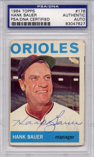 Hank Bauer PSA/DNA Certified Authentic Autograph - 1964 Topps