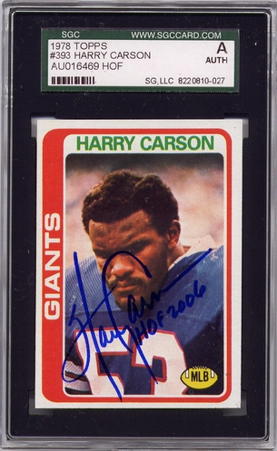 Harry Carson SGC Certified Authentic Autograph - 1978 Topps