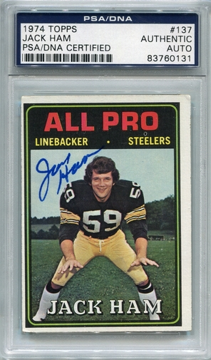 Jack Ham PSA/DNA Certified Authentic Autograph - 1974 Topps