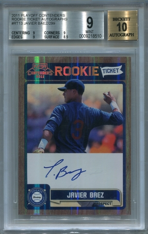 Javier Baez Rookie BGS Certified Authentic Autograph - 2011 Playoff Contenders