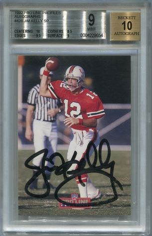 Jim Kelly BGS Certified Authentic Autograph - 1992 Pro Line Profiles
