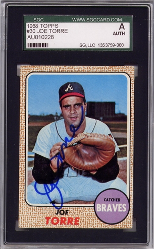 Joe Torre SGC Certified Authentic Autograph - 1968 Topps #30B