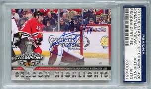 Jonathan Toews PSA/DNA Certified Authentic Autograph - 2013 UD Stanley Cup Champs #26
