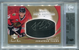 Jonathan Toews Rookie BGS Authentic Autograph - 2007 U.D. Sweet Shot