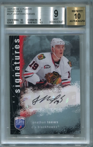 Jonathan Toews Rookie BGS Certified Authentic Autograph - 2007 Upper Deck Be A Player